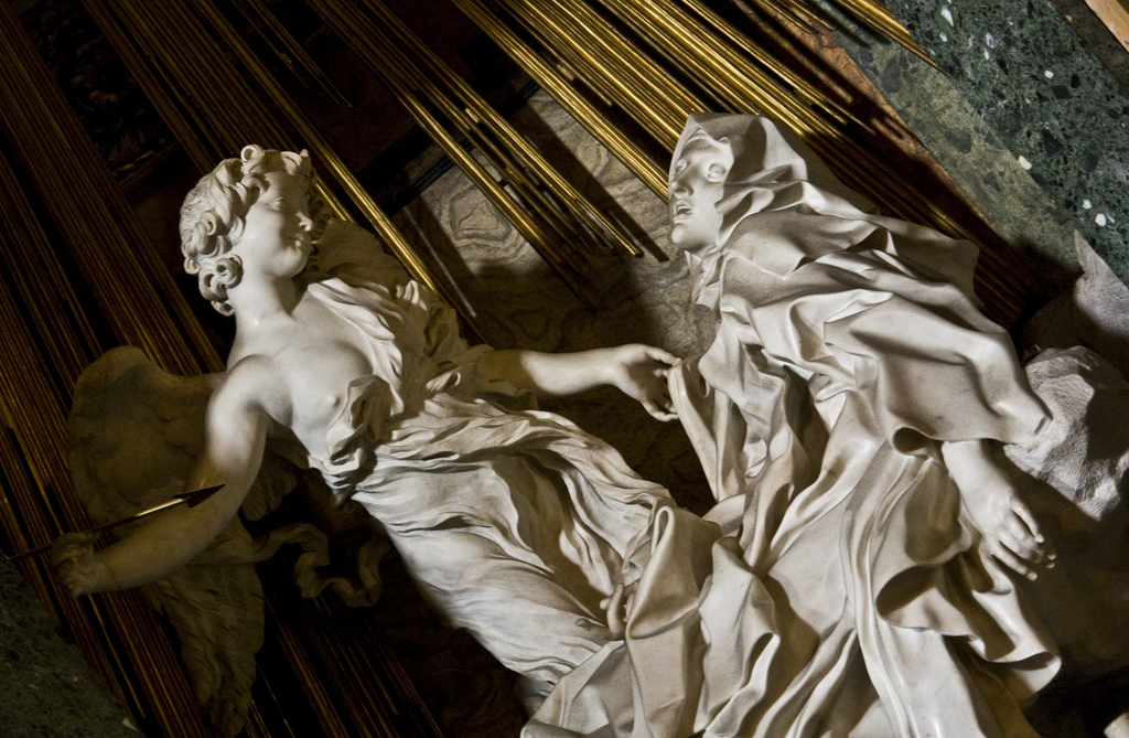 The Ecstasy of St. Teresa of Avila, by Giovanni Lorenzo Bernini, 1652, in the Church of Santa Maria della Vittoria, Rome, Italy Photo by LawrenceOP
