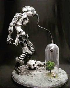 Vladimir De Thézier Sculpture of a Post human breathing from the last Tree on Earth, Deathwalking Midgard, Kelley Harrell, Soul IntentArts
