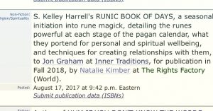 Runic Book of Days announced - Publishers Weekly, S. Kelley Harrell, Soul Intent Arts #ncwriters